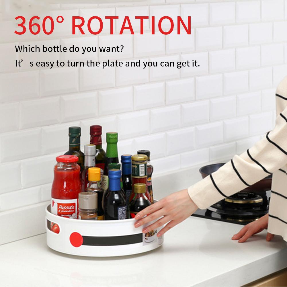 Multi-Function Anti-Skid Storage Tray Display Plastic Rotary Kitchen Bathroom Party Shelf Serving 360 Rotation Cosmetic Desk