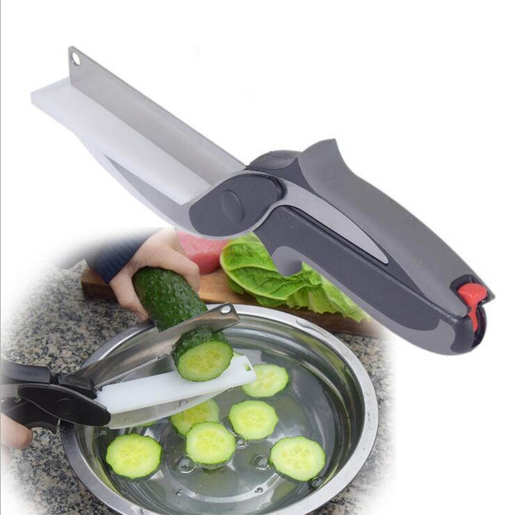 Smart Multi-Function Clever Scissors Cutter 2 in 1 Cutting Board utility cutter Stainless Steel Ourdoor Smart Vegetable Knife