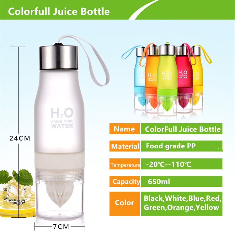 650ml H2O Lemon Juice Water Bottle Fruit Infuser Drinkware Sport Shaker Cute Water Drinking Bottles BPA Free Tomato Waterbottle