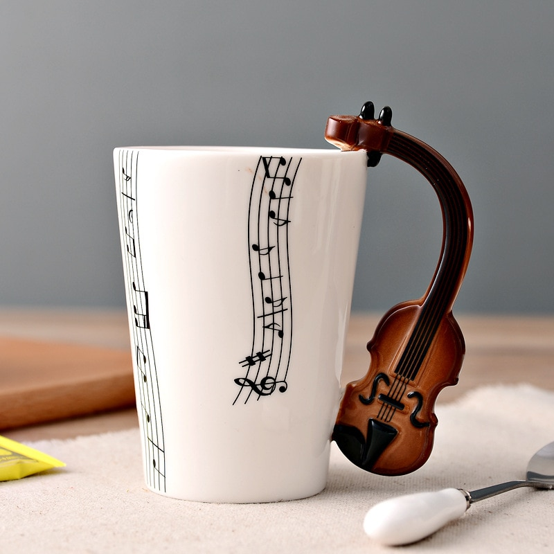 Creative Guitar Ceramic Cup Personality Novelty Music Note Milk Coffee Tea Cup Juice Lemon Mug Home Office Drinkware Unique Gift