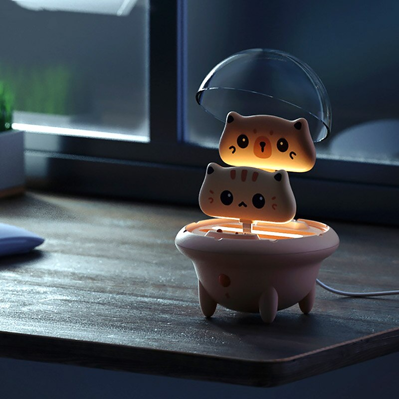 Portable Mini Power Bank Cute Cat Portable Powerbank With LED Night Light Small External Phone Charger Battery Lightweight