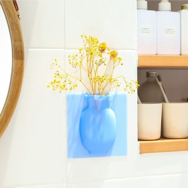 Silicone Sticky Wall Flower Vases (3 Pcs)